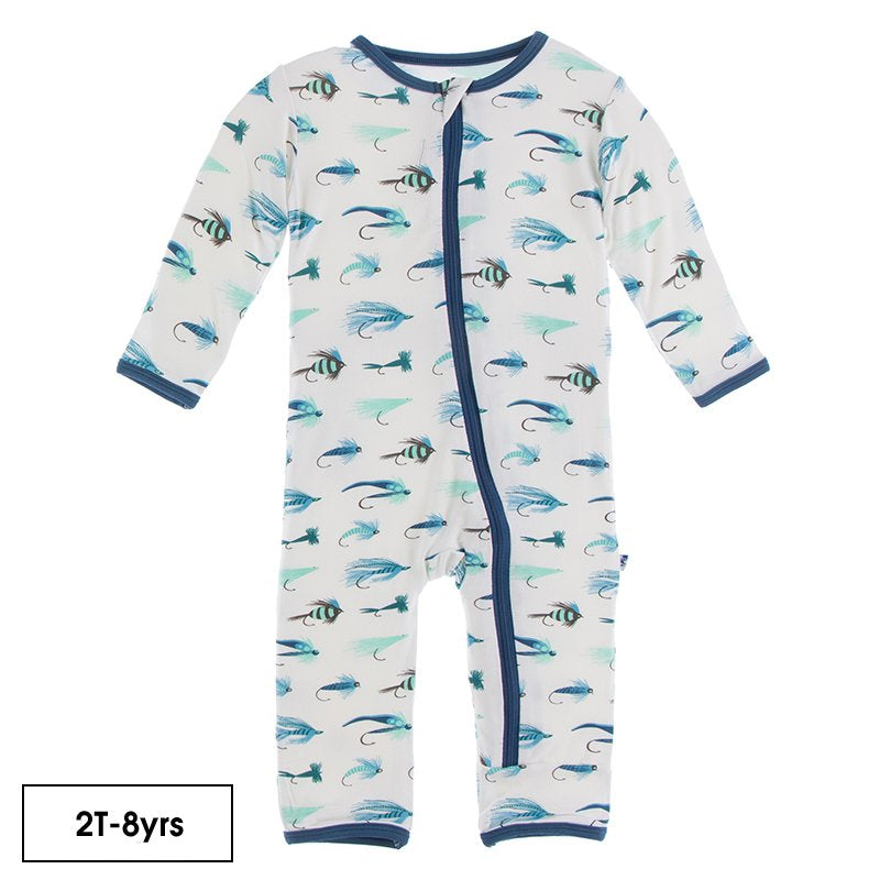 Print Coverall with Zipper in Natural Fishing Flies  - Doodlebug's Children's Boutique