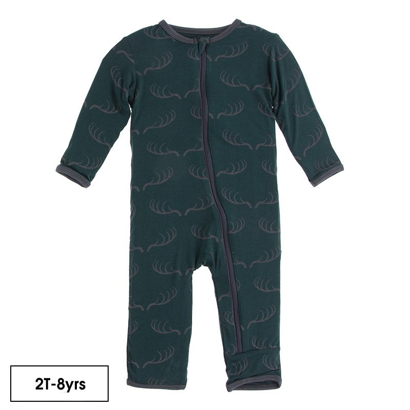 Print Coverall with Zipper in Pine Deer Rack  - Doodlebug's Children's Boutique