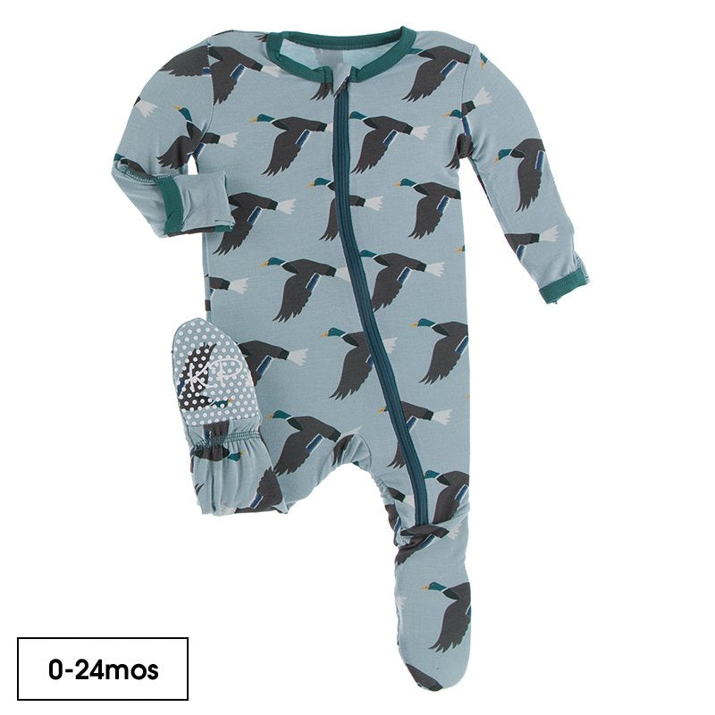 Print Footie with Zipper in Jade Mallard Duck  - Doodlebug's Children's Boutique