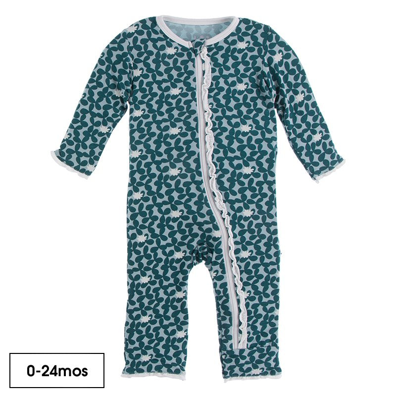 Print Muffin Ruffle Coverall with Zipper in Jade Running Buffalo Clover  - Doodlebug's Children's Boutique