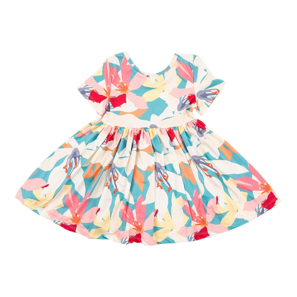 Little Lilies Short Sleeve Twirl Dress  - Doodlebug's Children's Boutique
