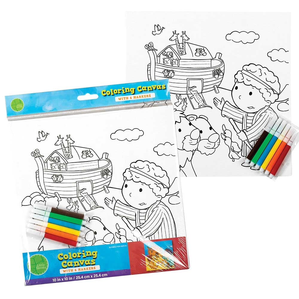 Noahs Ark Coloring Canvas with Markers  - Doodlebug's Children's Boutique