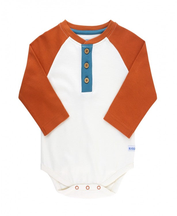 Raglan Henley Bodysuit in Orange Spice and Ivory  - Doodlebug's Children's Boutique