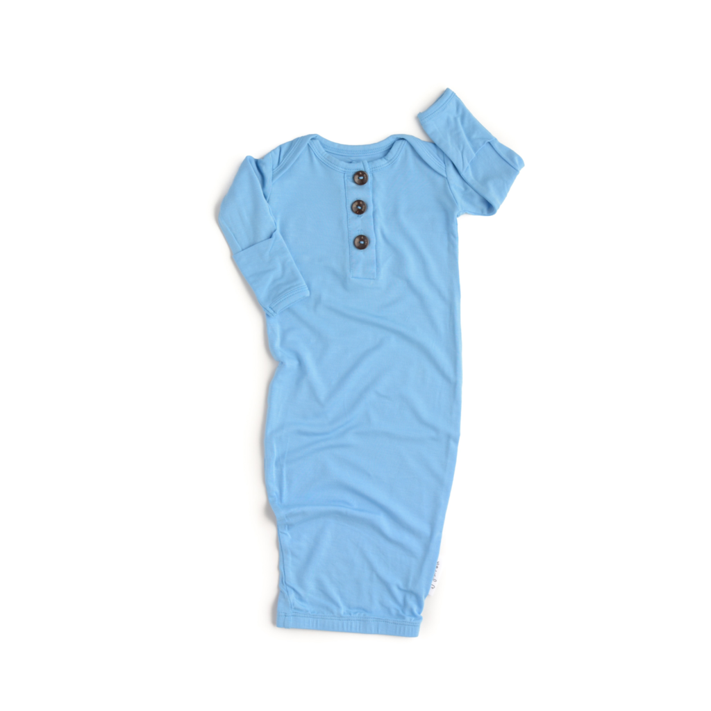 Baby Blue Button Gown  - Doodlebug's Children's Boutique