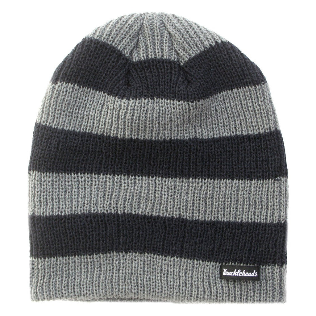 Black and Grey Stripes Slouchy Beanie  - Doodlebug's Children's Boutique