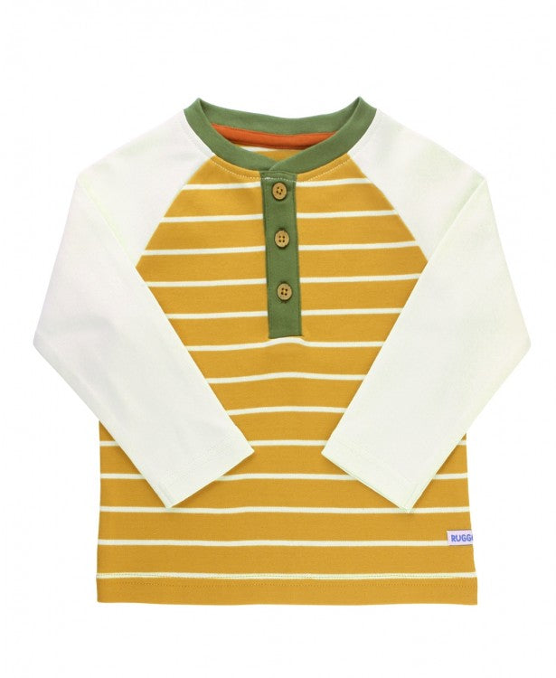 Raglan Henley Tee in Golden Yellow Stripe  - Doodlebug's Children's Boutique