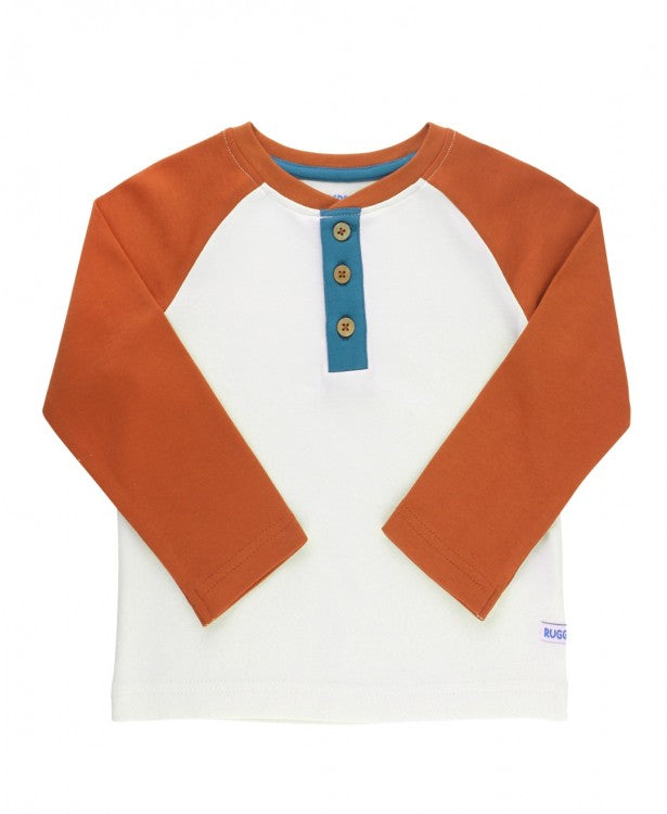 Raglan Henley Tee in Orange Spice and Ivory  - Doodlebug's Children's Boutique