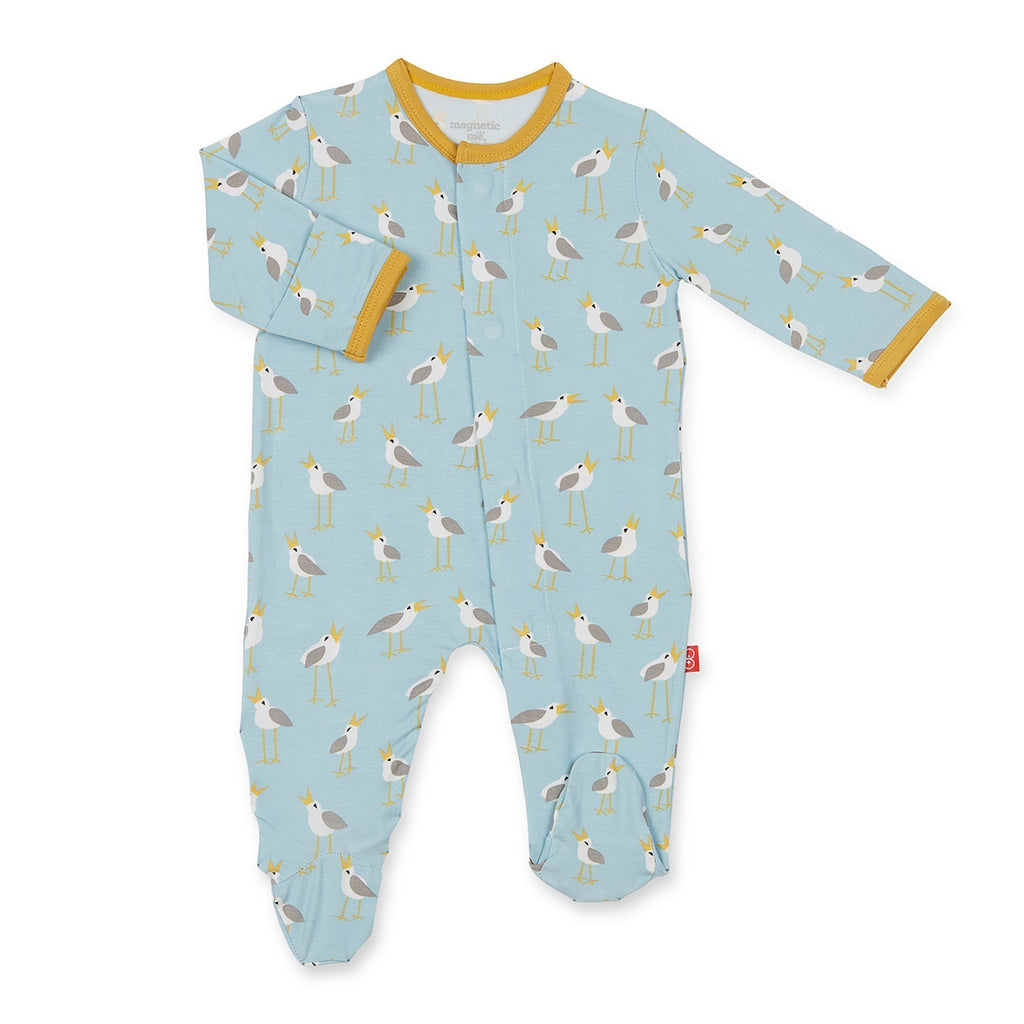 Blue Plovers Magnetic Modal Footie  - Doodlebug's Children's Boutique