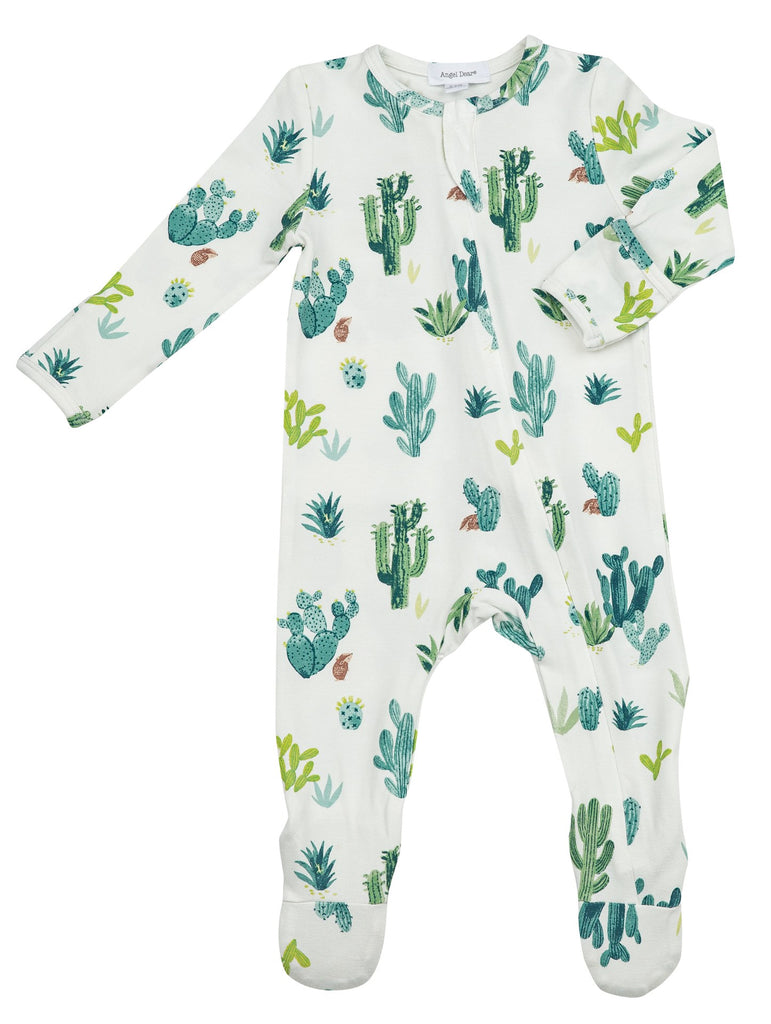 Zipper Footie in Ivory Cactus  - Doodlebug's Children's Boutique