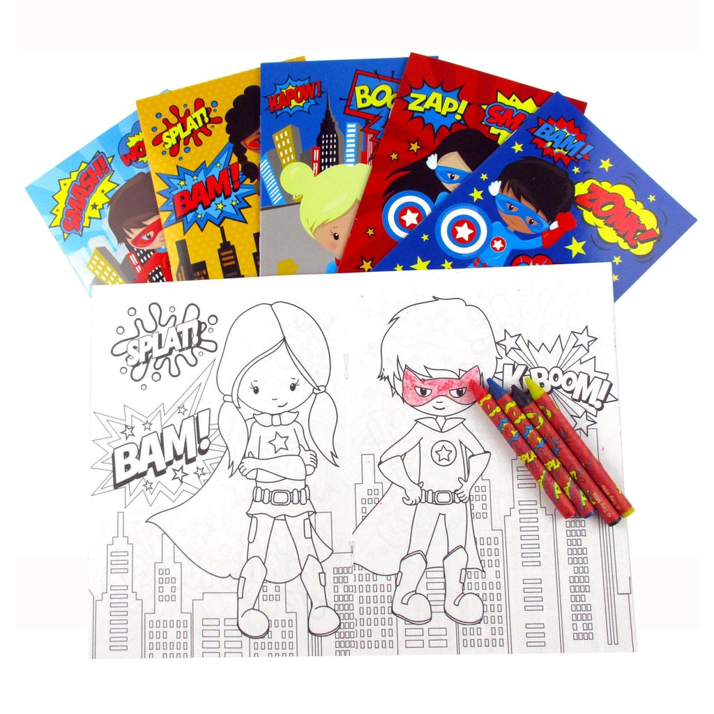 Superhero Coloring Book with Crayons  - Doodlebug's Children's Boutique