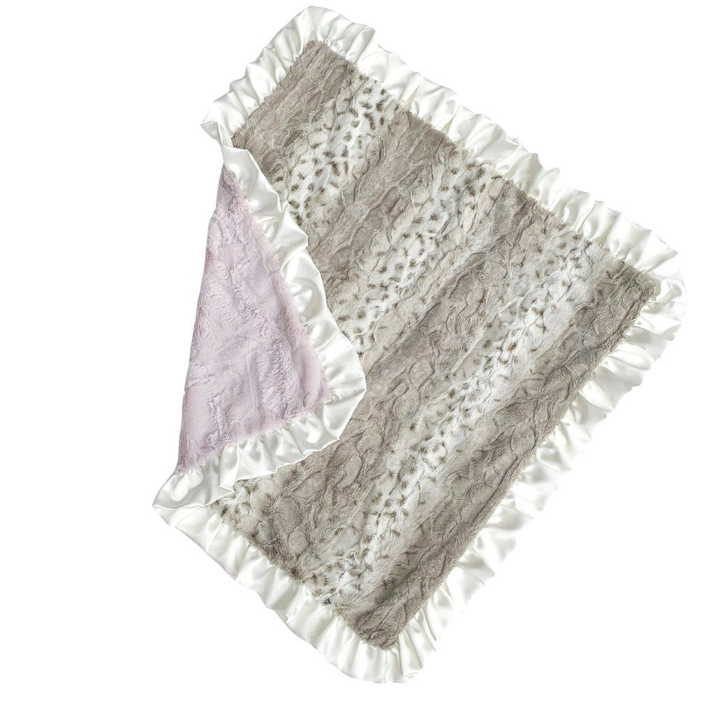 Ruffled Dusty Pink Snowcat Blanket  - Doodlebug's Children's Boutique