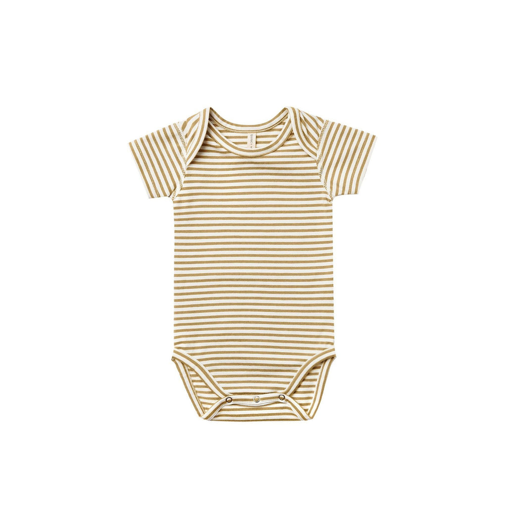 Short Sleeve Bodysuit in Gold Stripe
