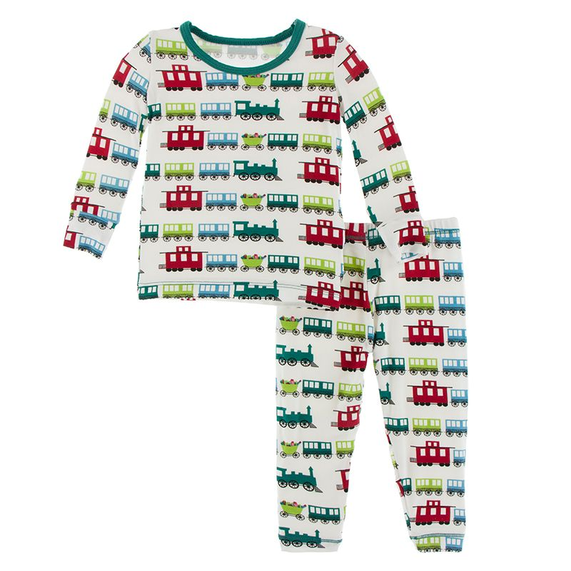 Print Long Sleeve Pajama Set in Natural Toy Train  - Doodlebug's Children's Boutique