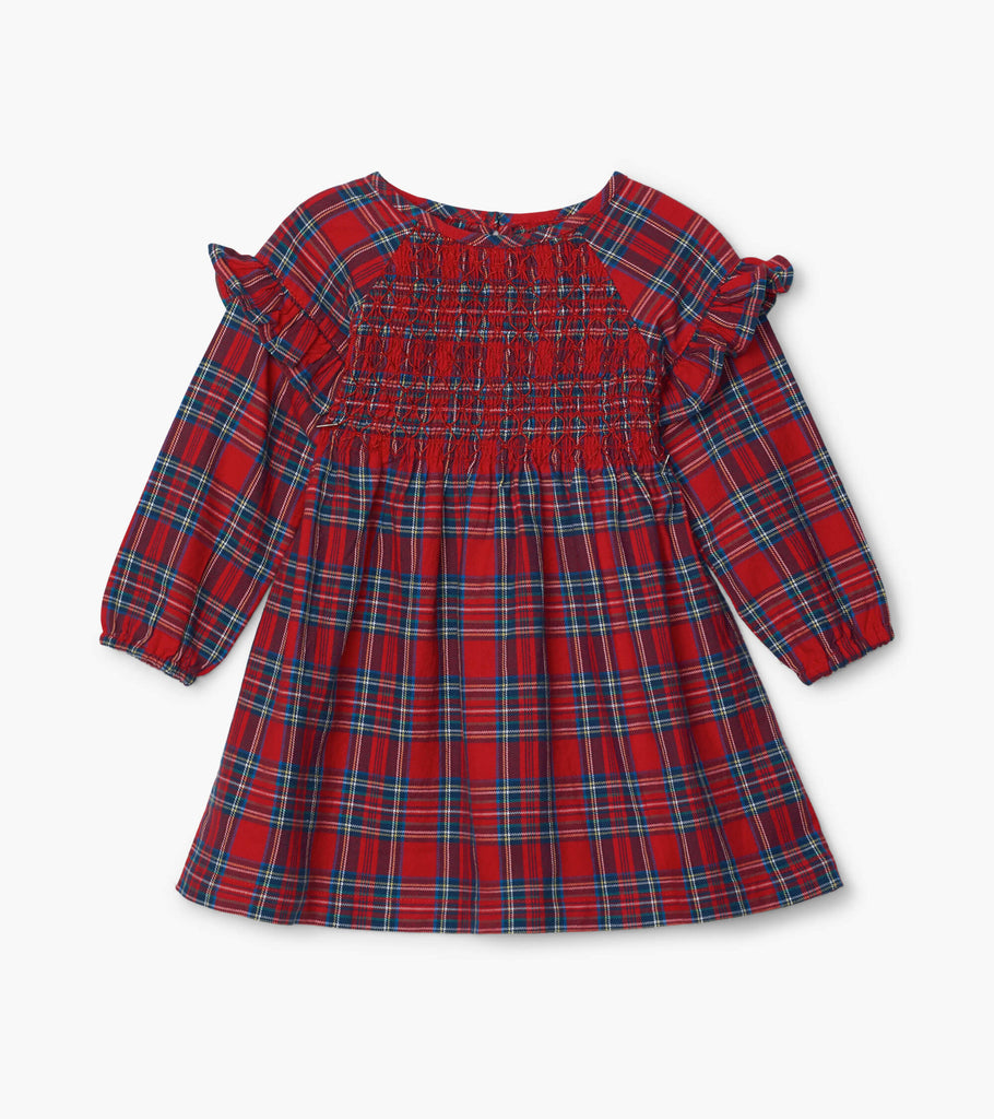 Holiday Plaid Baby Smocked Party Dress  - Doodlebug's Children's Boutique