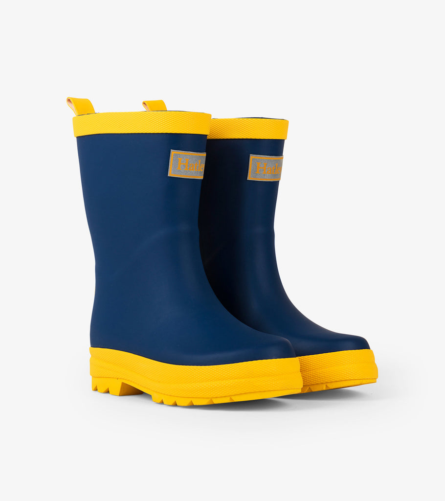 Matte Rain Boots in Navy and Yellow  - Doodlebug's Children's Boutique