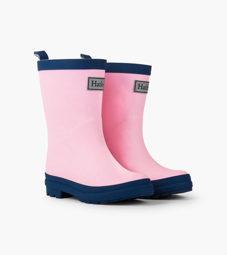 Matte Rain Boots in Pink and Navy  - Doodlebug's Children's Boutique