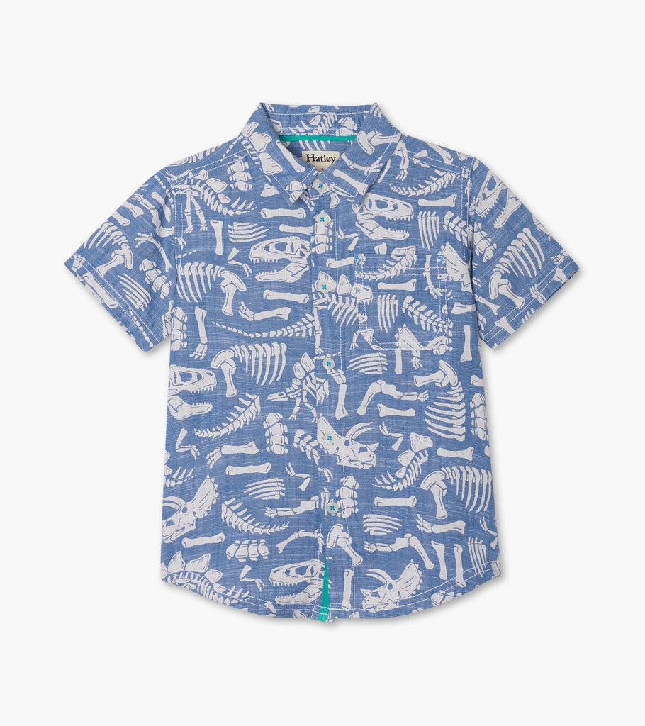 Dino Fossils Short Sleeve Button Down Shirt  - Doodlebug's Children's Boutique