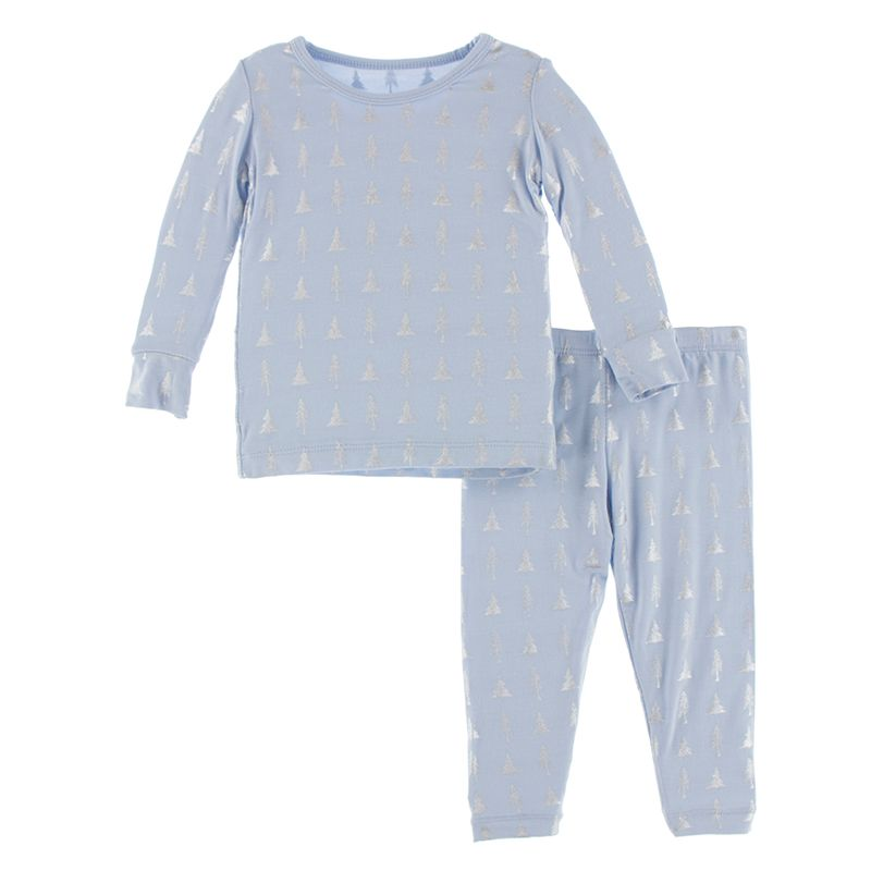 Print Long Sleeve Pajama Set in Frost Silver Trees  - Doodlebug's Children's Boutique