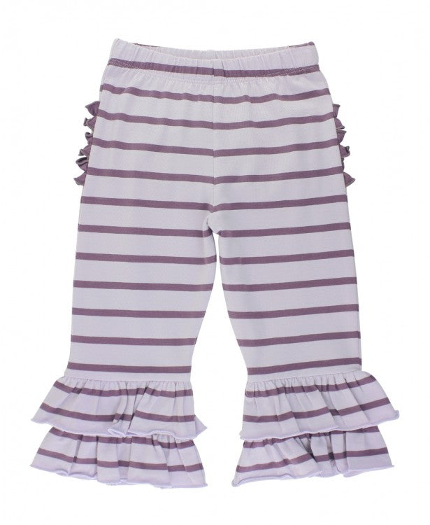Stripe Ruffle Pants in Shadow Purple Stripe  - Doodlebug's Children's Boutique