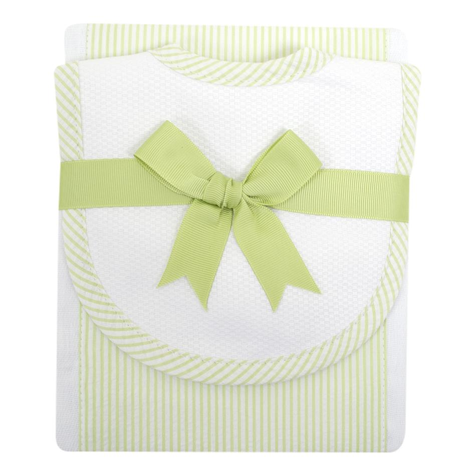 Green Stripe Drooler Bib and Burp Set  - Doodlebug's Children's Boutique