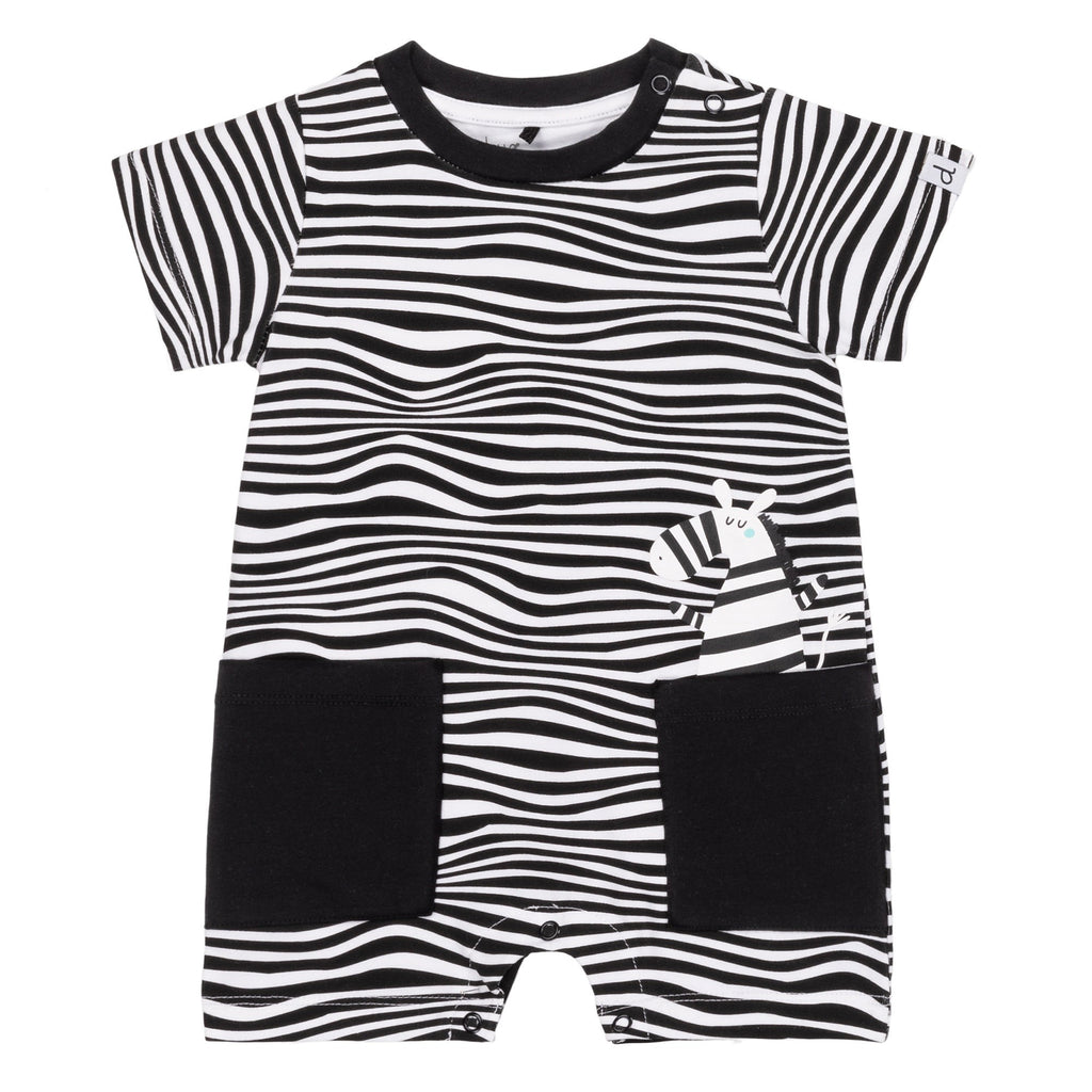 Zebra Romper  - Doodlebug's Children's Boutique
