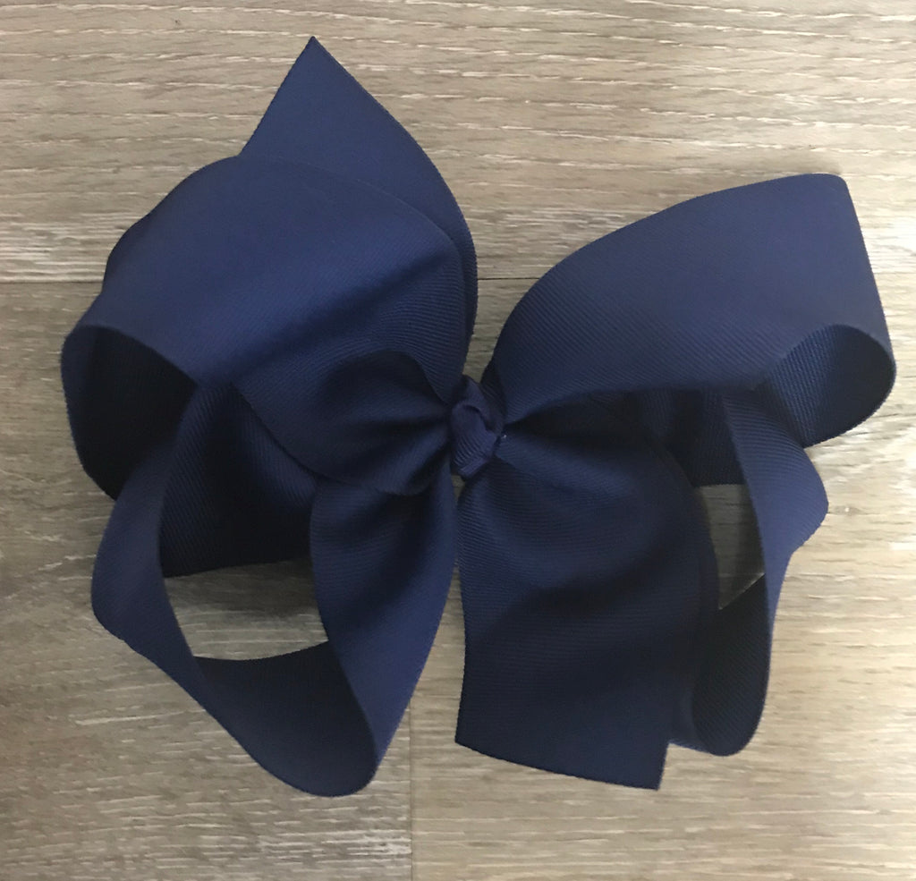 Large Solid Hair Bow in Navy Navy - Doodlebug's Children's Boutique