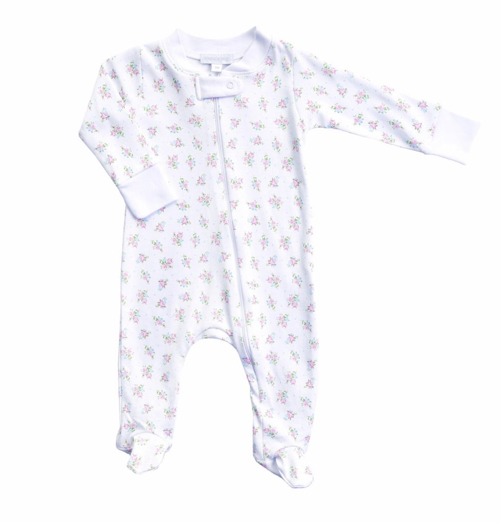 Piper's Garden Printed Zipped Footie  - Doodlebug's Children's Boutique