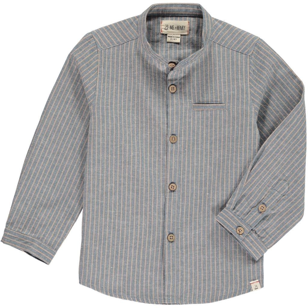 Blue and Beige Stripe Long-Sleeved Button Down Shirt  - Doodlebug's Children's Boutique