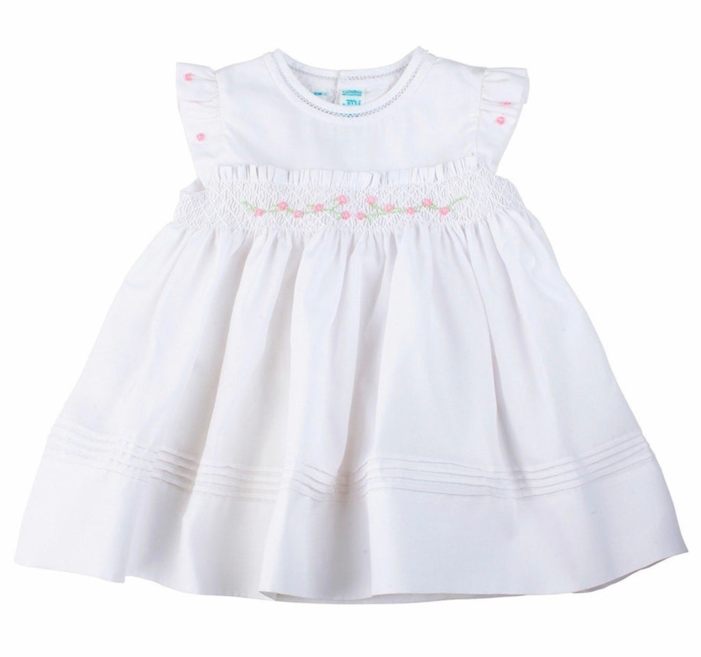 White Rose Garden Collection Fly Sleeve Smocked Dress White / 6 mo - Doodlebug's Children's Boutique