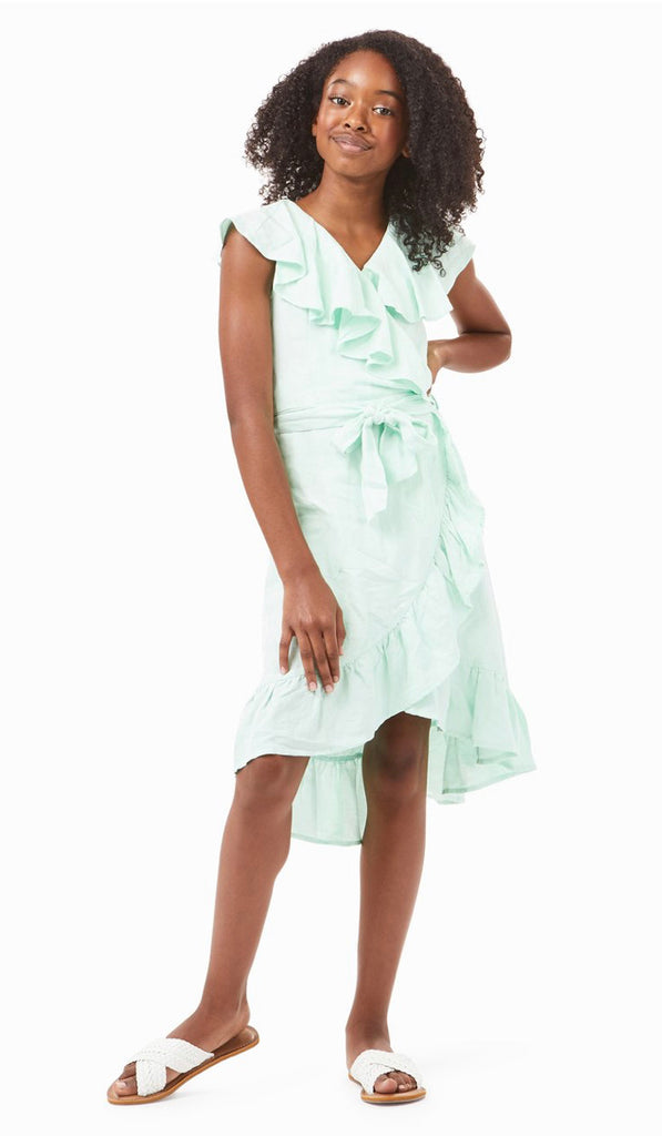 River Ruffle Dress in Aqua  - Doodlebug's Children's Boutique