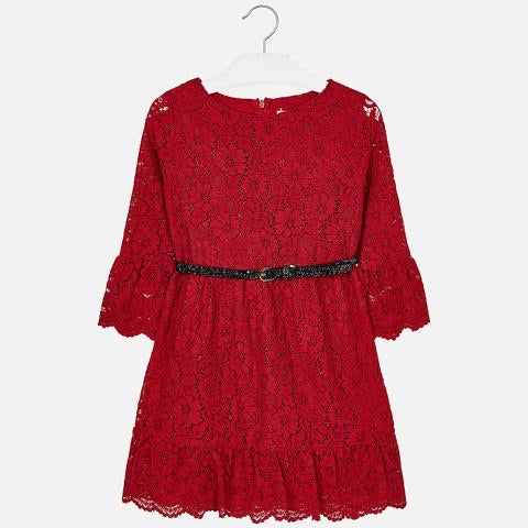 Red Lace Dress with Belt  - Doodlebug's Children's Boutique