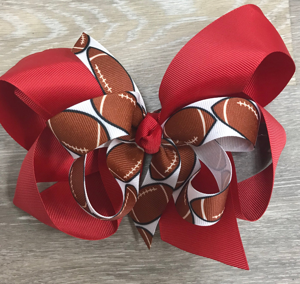 Bow Savvy Large Layered Hair Bow Red Football - Doodlebug's Children's Boutique