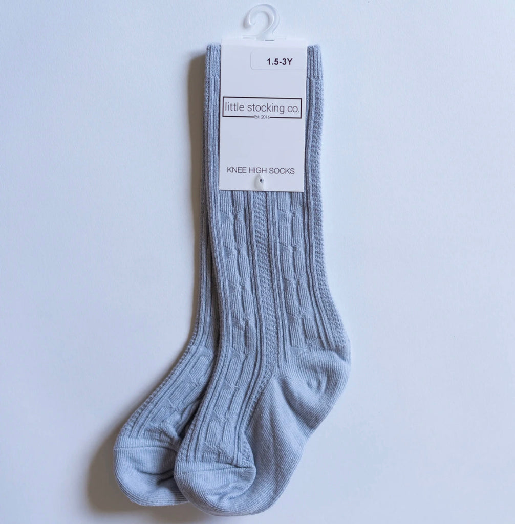 Cable Knit Knee High Socks in Powder Blue  - Doodlebug's Children's Boutique