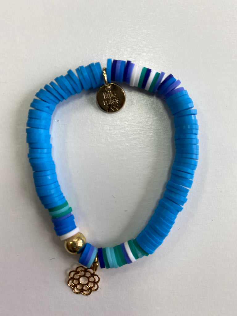 Bracelet with Gold Charm Teal with Flower Charm - Doodlebug's Children's Boutique