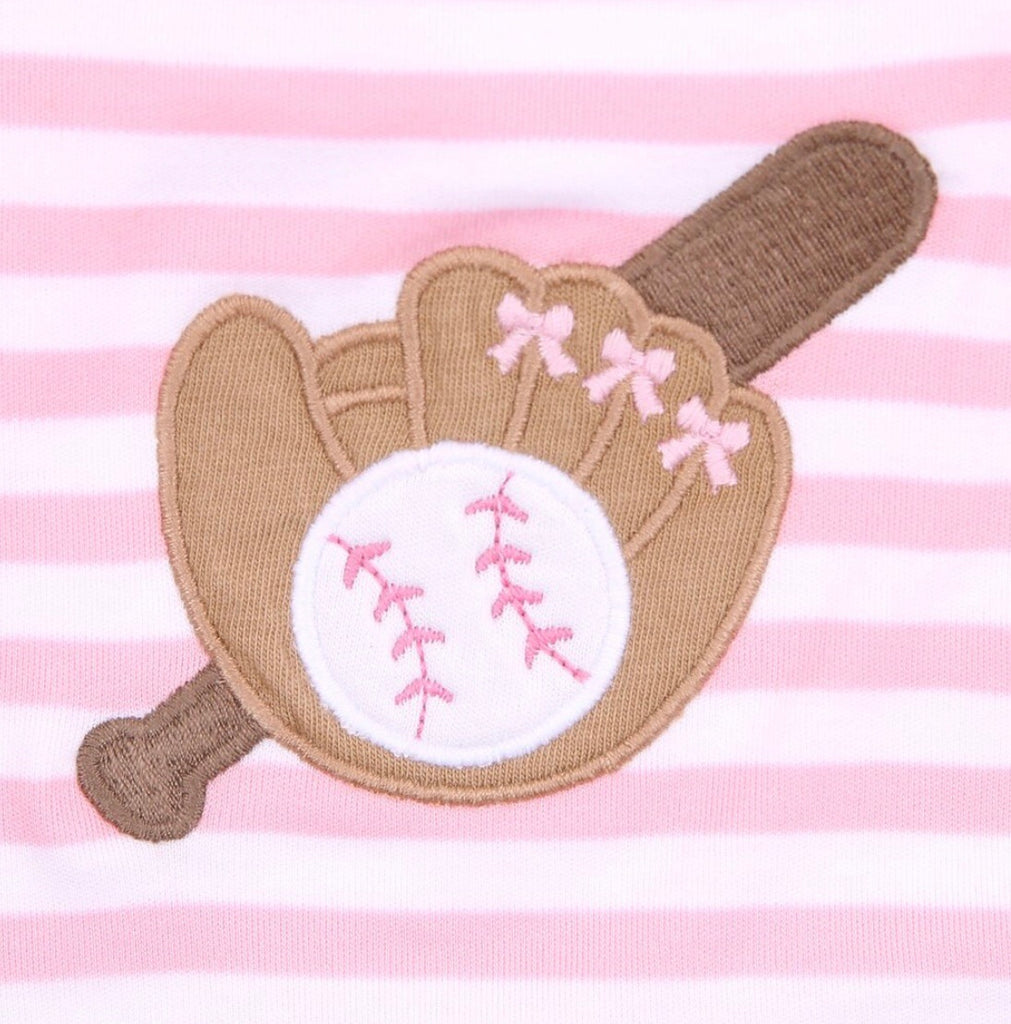 Baseball Appliqué Long Pajamas  - Doodlebug's Children's Boutique