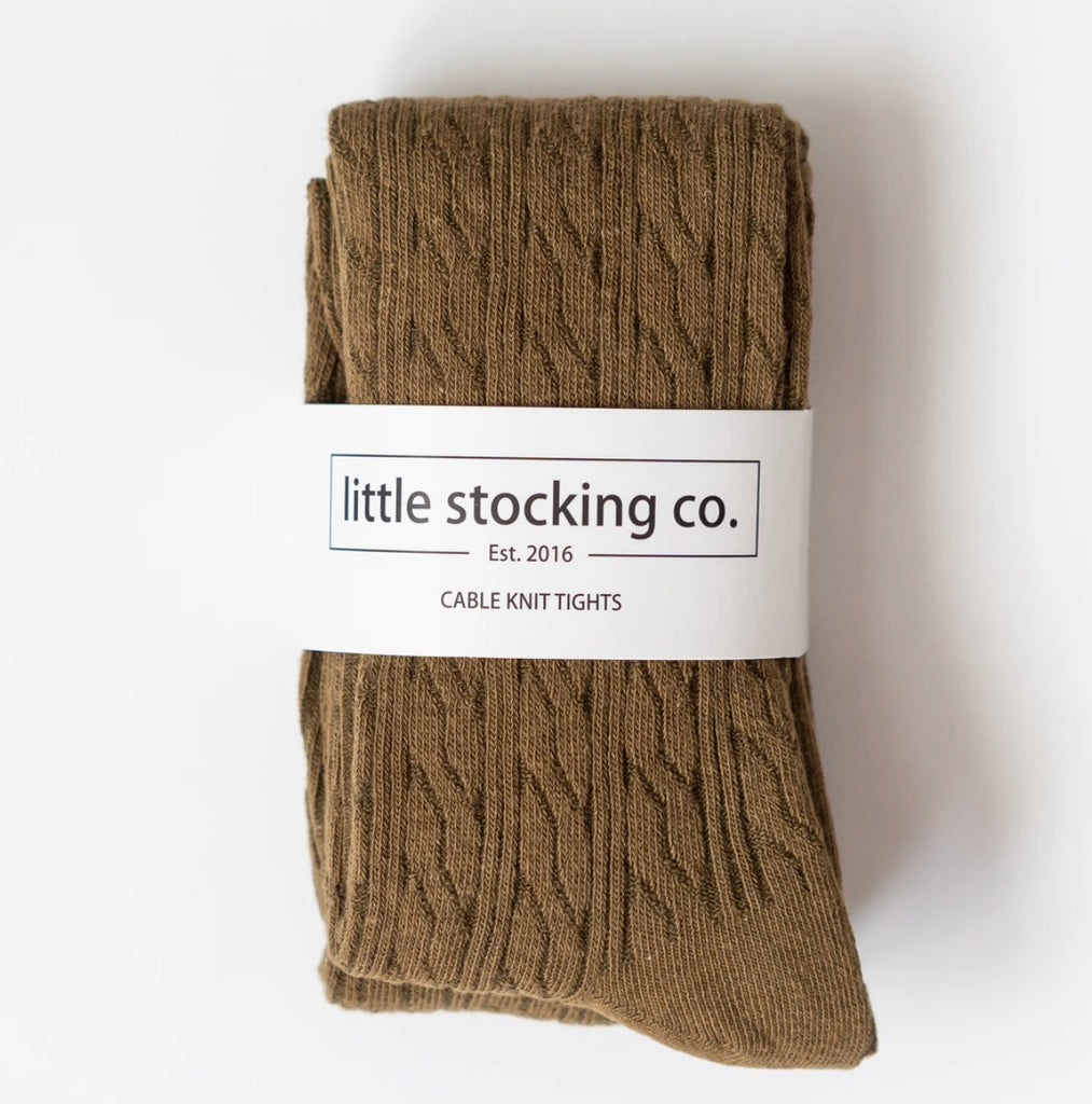 Cable Knit Tights in Olive  - Doodlebug's Children's Boutique