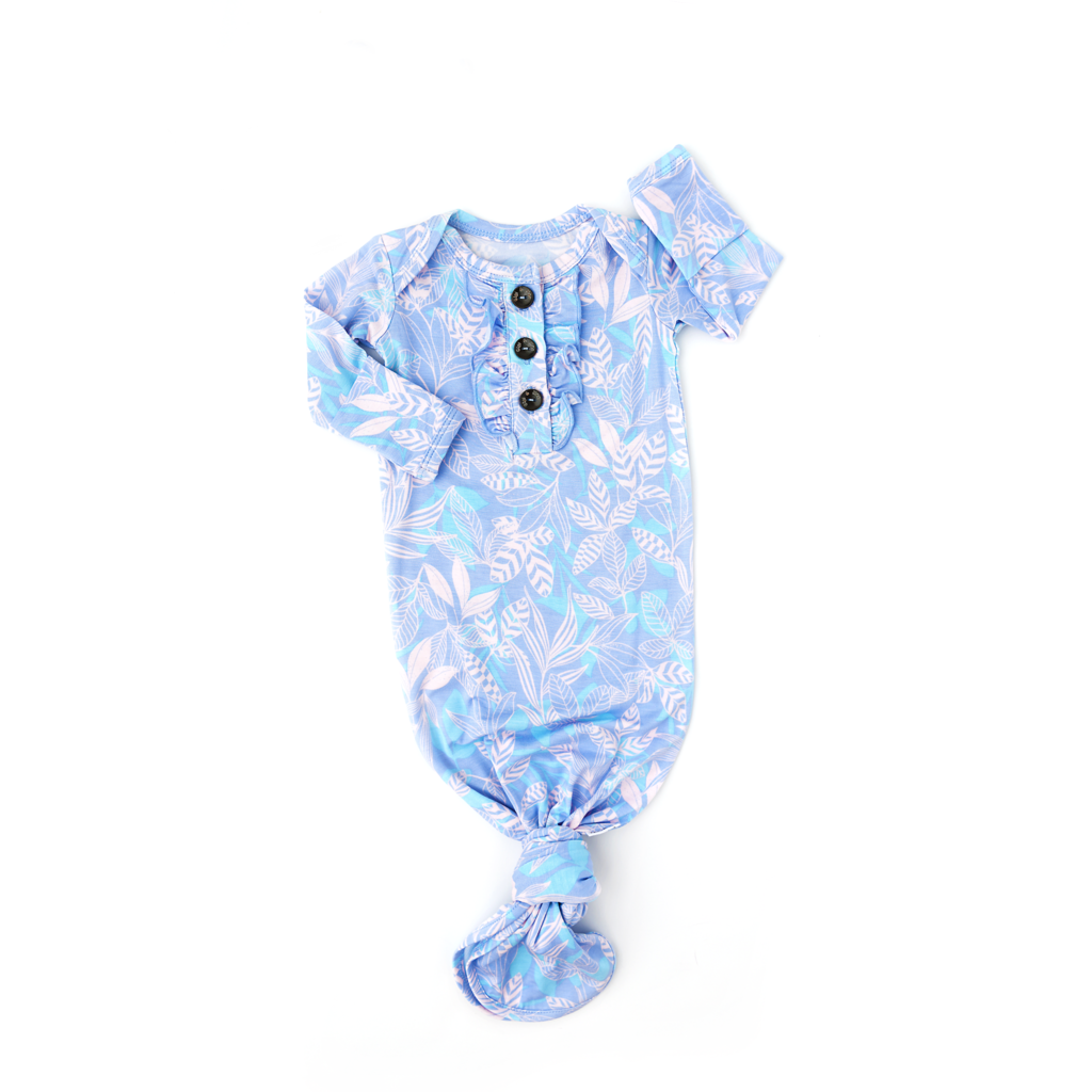 Ellie Signature Tie Button Gown with Ruffle  - Doodlebug's Children's Boutique