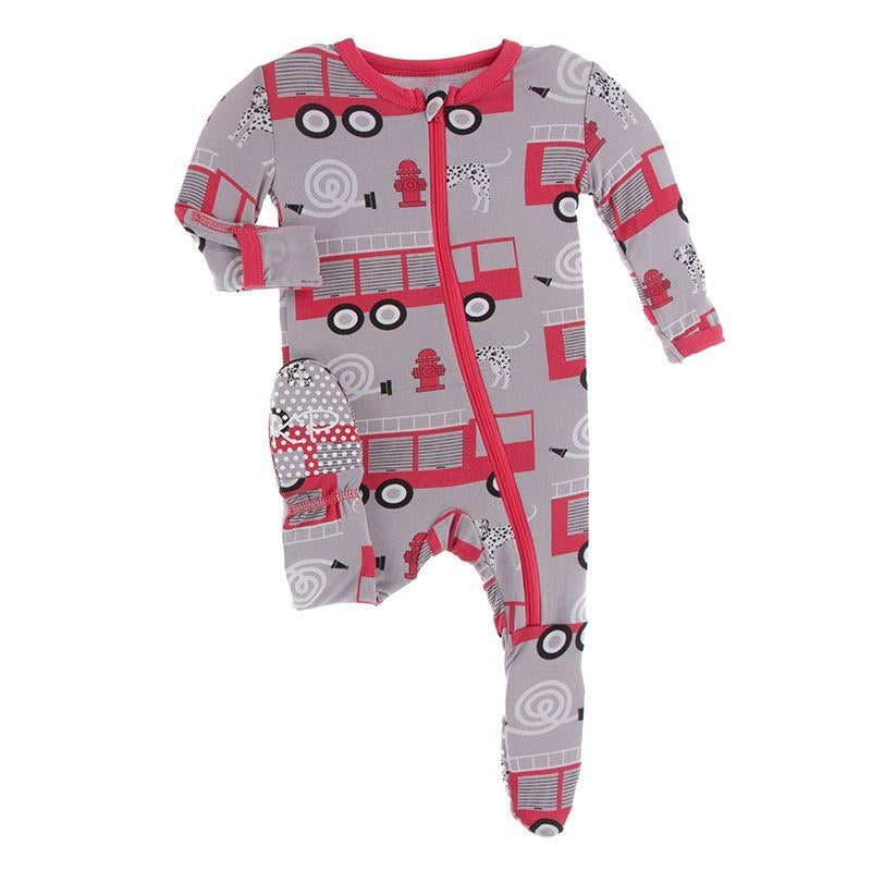 Print Footie with Zipper in Feather Firefighter  - Doodlebug's Children's Boutique