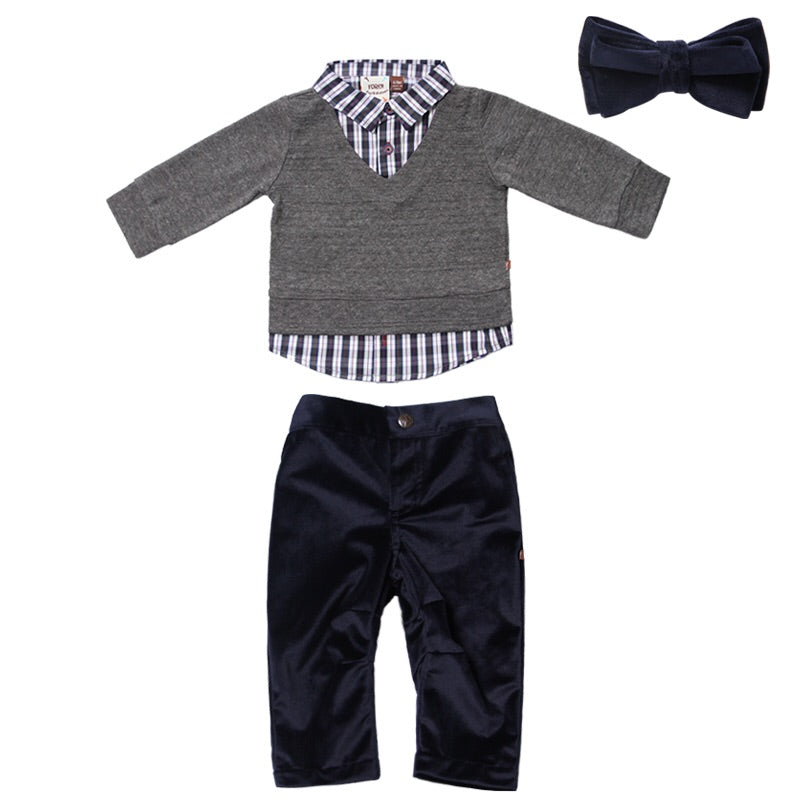 Fore Axel and Hudson Grey Knit Sweater Set with Bow Tie