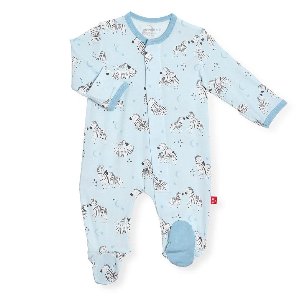 Blue Little Ones Magnetic Modal Footie  - Doodlebug's Children's Boutique