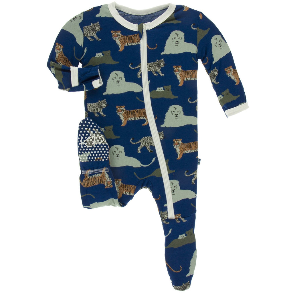Print Footie with Zipper in Flag Blue Big Cats  - Doodlebug's Children's Boutique