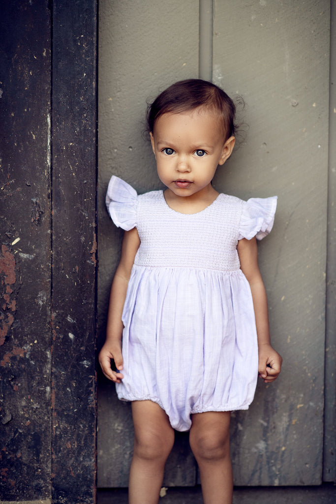 Delia Romper in Antique Lilac  - Doodlebug's Children's Boutique