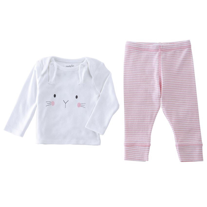 Pink Bunny Top and Pant Set  - Doodlebug's Children's Boutique