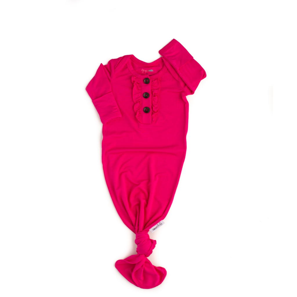 Penelope Signature Tie Button Gown with Ruffle Penelope / Newborn - Doodlebug's Children's Boutique