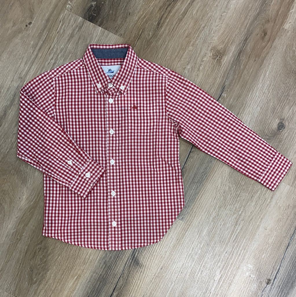 Dress Shirt In Burnt Russet & White  - Doodlebug's Children's Boutique