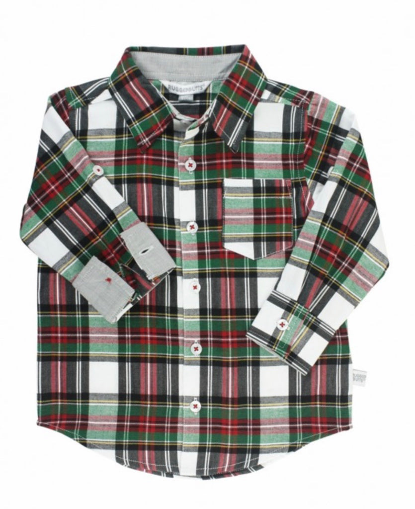 Rugged Butts Juniper Plaid Button Down Shirt  - Doodlebug's Children's Boutique
