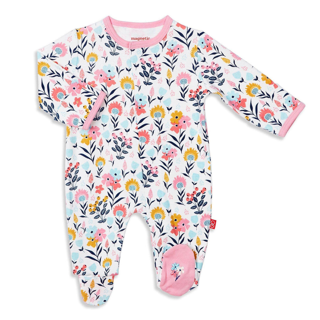 Sussex Floral Magnetic Organic Cotton Footie Sussex Floral / Preemie - Doodlebug's Children's Boutique