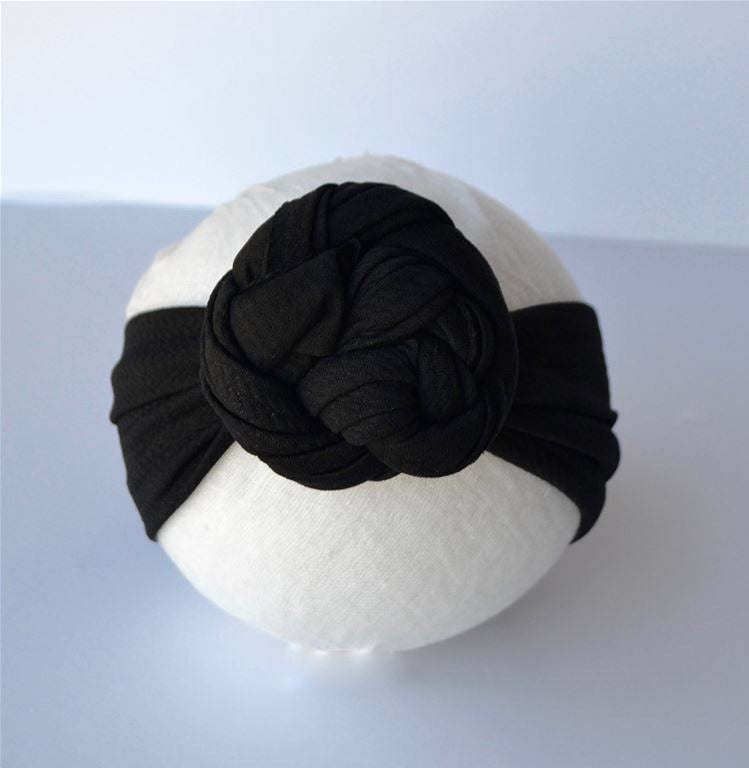 Black Top Knot Headband Black / Size 1 (newborn-6 months) - Doodlebug's Children's Boutique