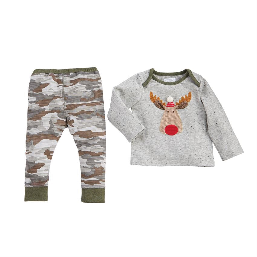 Mud Pie Camo Reindeer Two-Piece Set