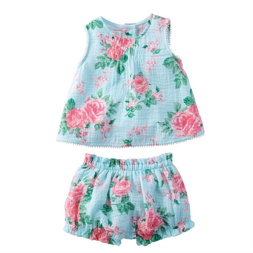 Rose Pinafore and Bloomer Set  - Doodlebug's Children's Boutique